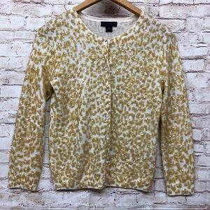 J Crew Collection Sweater Merino Wool Gold Sequins
